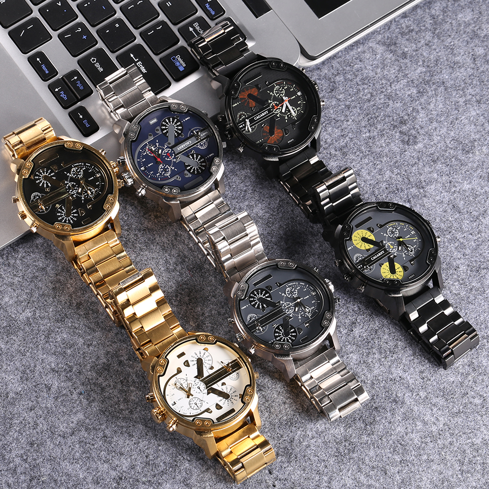 Image 5 - Cool Wrist Watch Men Luxury Brand Cagarny Mens Quartz Watches Waterproof Black Stainless Steel Clock Military relogio masculino-in Quartz Watches from Watches