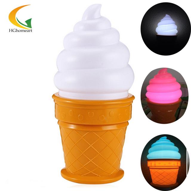 Alimentado por bateria toque led nightlight quarto do bebê Ice Cream luz conduzida da noite lâmpada de cabeceira conduziu a lâmpada de poupança de energia luzes da noite