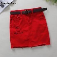 2019 summer womens ladies straight denim skirt red jeans harajuku pockets skirt short skirt high quality mini jeans skirt