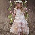 2016 de Festa À Noite Princesa Rendas Traje Adolescente Meninas Roupas Vestido Da Menina Crianças Vestidos de Dama de honra de Casamento Crianças Girs Verão