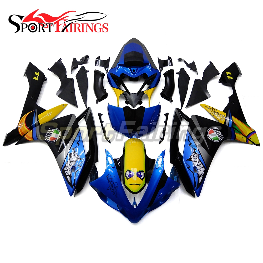 Motorcycle Full Fairing Kit For Yamaha YZF R1 YZF1000 07 08 YZF-R1 2007 2008 ABS Cowling Shark Blue Bodywork Spoilers Carenes blue moto fairing kit for yamaha yzf1000 yzf 1000 r1 yzf r1 2000 2001 00 01 fairings custom made motorcycle bodywork injection