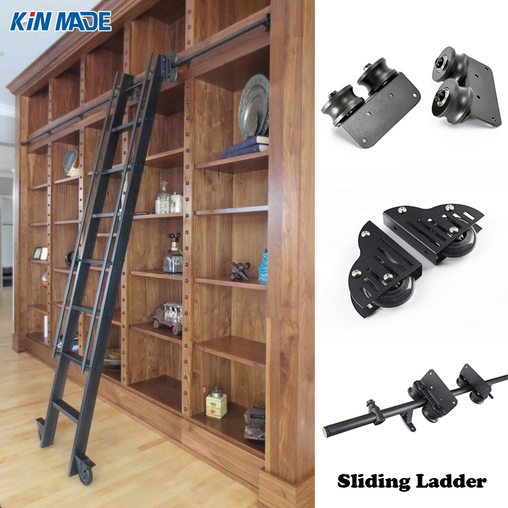 Kinmade 3.3ft  6.6ft Rustic Black Round Tube Sliding Barn Ladder Library Ladder Track Kit