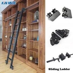 Kinmade 3.3ft  6.6ft Rustic Black Round Tube Sliding Barn Ladder Library Ladder Track Kit