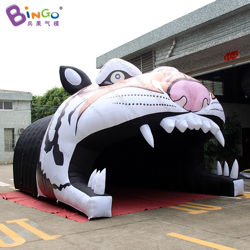 Personalized 7.7x4x3.7 Meters Inflatable Tiger Mascot Tunnel / Inflatable Tiger Tunnel / Inflatable Football Tunnel Toy Tents