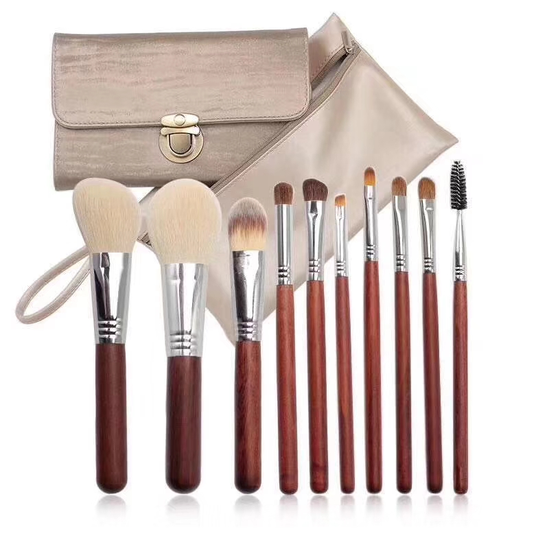 10pcs Goat Hair Makeup Brushes Set Foundation Powder Bulsh Eyeshadow Eyeliner Lip Make Up Brush Cosmetic Tools with Case Holder makeup brushes tool set 29pcs professional makeup tools accessories goat hair cosmetic with black leather cosmetic case