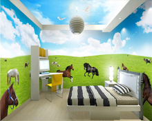 beibehang Soundproof three-dimensional wallpaper blue sky white clouds grassland horses theme space full house background behang blue horses