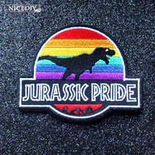 Nicediy Jurassic Park Patches Embroidered For Clothing Dinosaur Patch Iron on Appliques On Clothes DIY Stickers