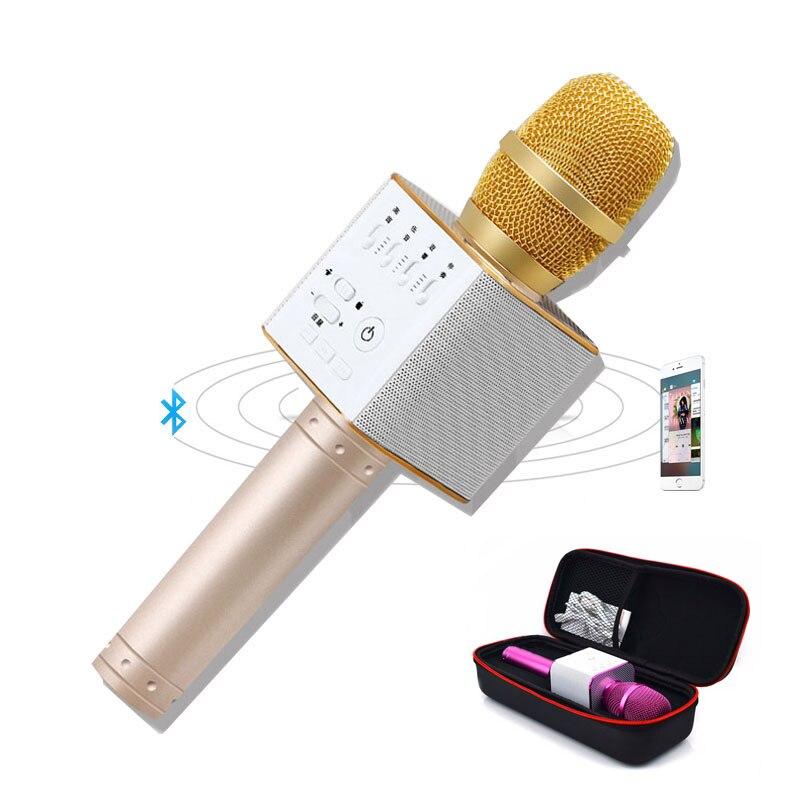 D'origine Marque Q9 Magique Bluetooth Karaoké Microphone Sans Fil Professionnel Lecteur haut-parleur Avec Carring Cas Pour Iphone Android