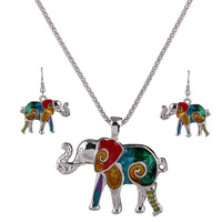 Antique Silver Jewelry Sets Colorful Oil Enamel Pendant Elephant Necklaces/Earrings Set For Women OL Party Clubs