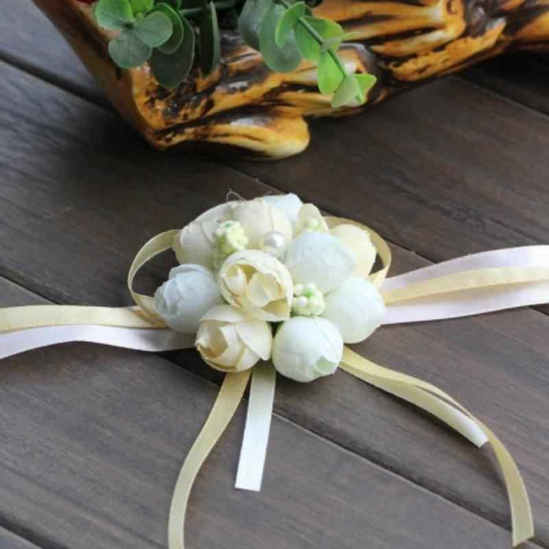 手首の花バラのシルクリボン花嫁のコサージュの手の装飾リストバンドブレスレット花嫁介添人カーテンバンドクリップ花束