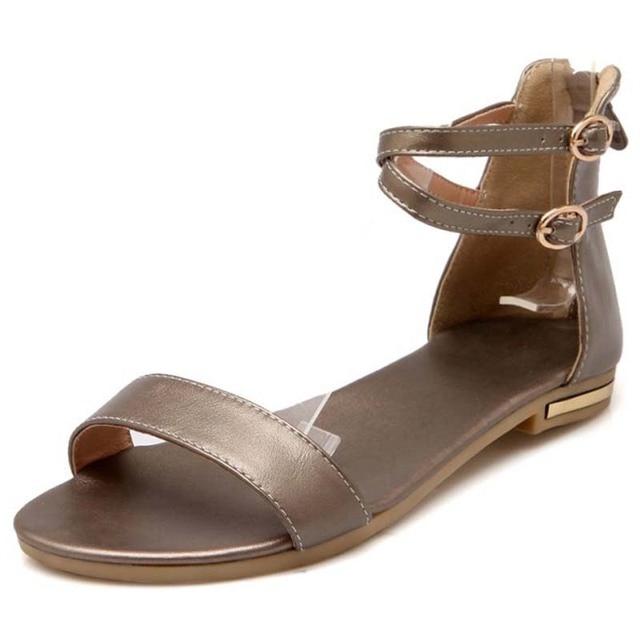 new flat women's sandals ladies leather + PU women sandals summer shoes woman white black shoes #Y0569501F