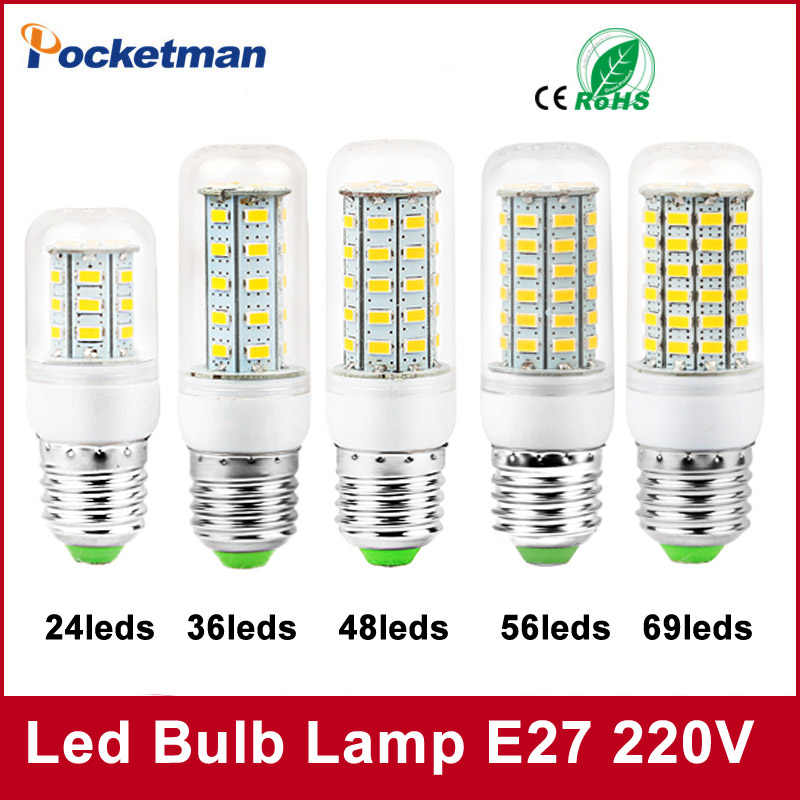 Led Bulbs Light Lamps E27 E14 5730 220V 24 36 48 56 69leds LED Corn Led Bulb Christmas lampada led Chandelier Candle Lighting