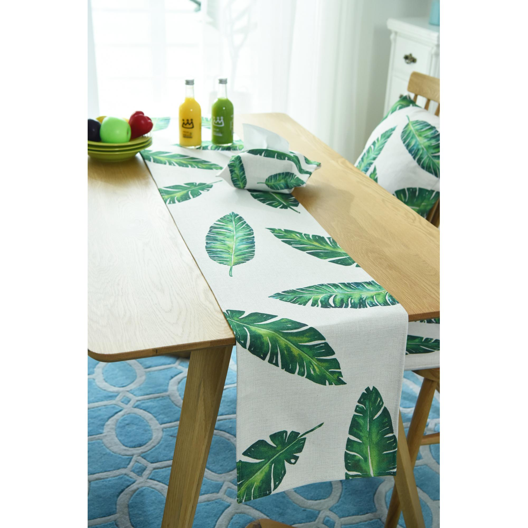 Modern Simple Style Cotton Fabric Table Runner Leaf Printed Table Runner for Wedding Party Home Hotel Bed Flag Tail Towel in Table Runners from Home Garden