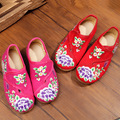 New chinese style beautiful wisteria flower embroidery canvas flats children shoes for children foot length 15-21 cm