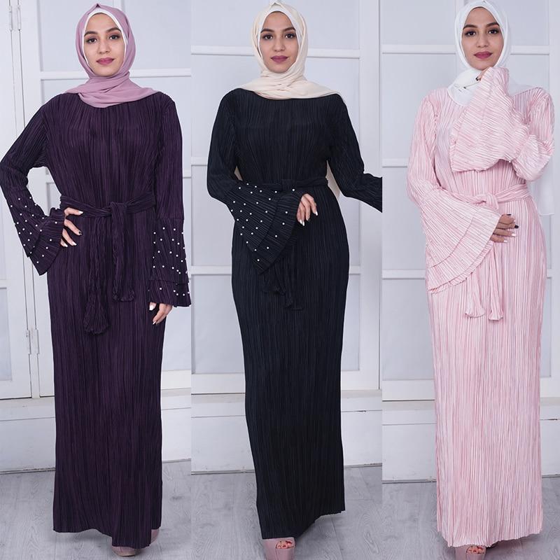 Plus Size Vestidos Kaftan Abaya Dubai Bangladesh Pleated Maxi Muslim Hijab Dress Women Qatar Jilbab Turkish Islamic Clothing