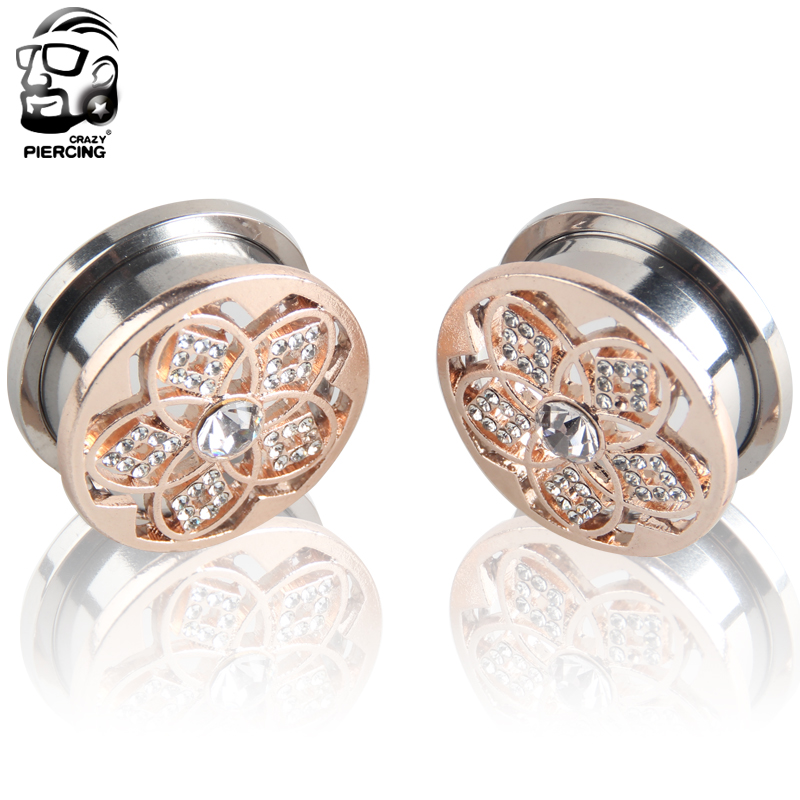 Rose Gold Flower Piercing Crystal Stainless Steel Ear Gauge Tunnels Plugs