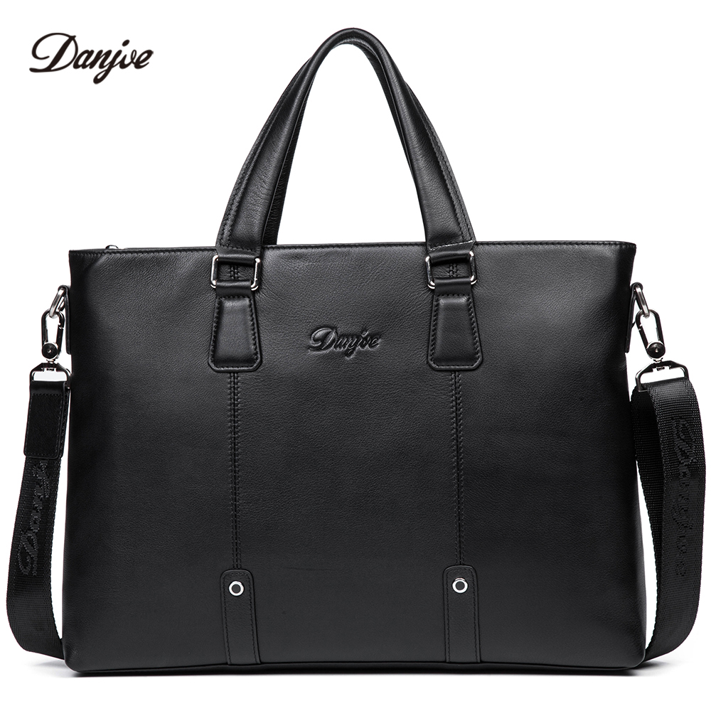 DANJUE Genuine Leather Briefcase Men Business Handbag Male Large Capacity Brand Shoulder Bag Black Man Laptop Totes недорого