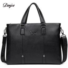 DANJUE Genuine Leather Briefcase Men Business Handbag Male Large Capacity Brand Shoulder Bag Black Man Laptop Totes
