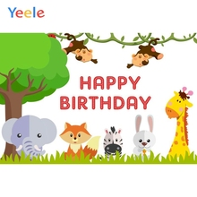 Yeele Cartoon Animals Tree Baby Birthday Portrait Photography Backgrounds Customized Photographic Backdrop For Photo Studio