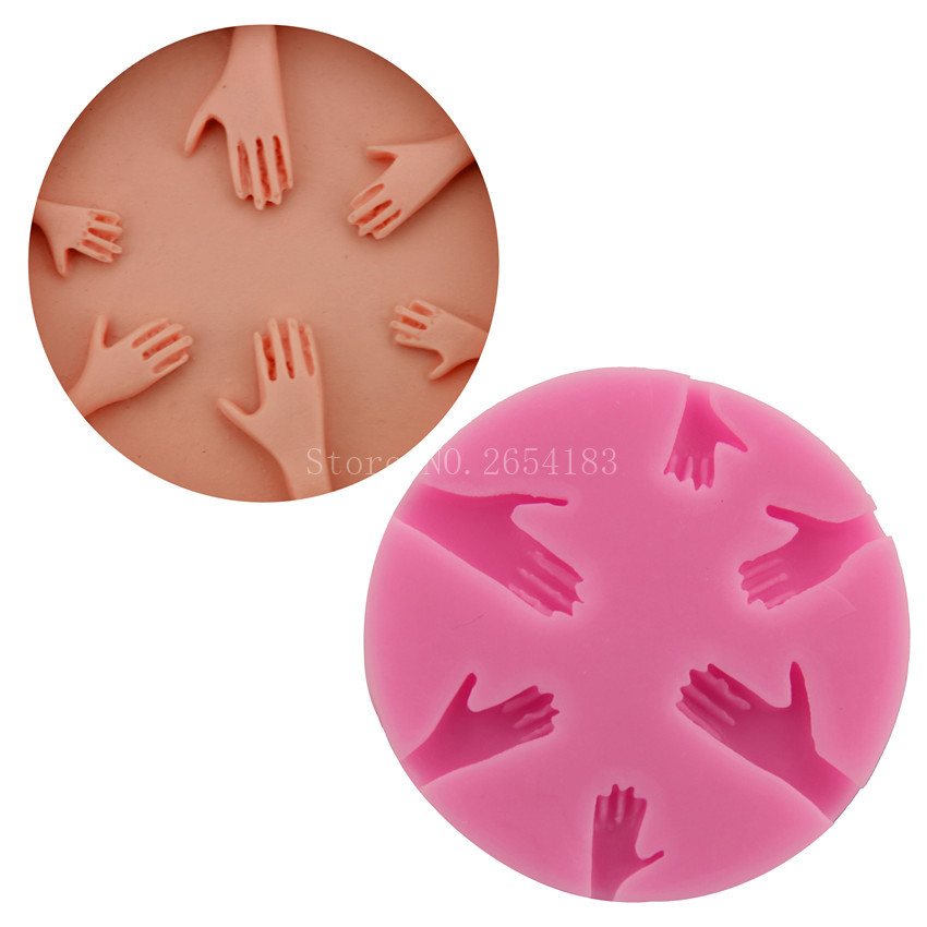5 hold Hand Palm shape Silicone Fondant Soap 3D Cake Mold Cupcake Jelly Candy Chocolate Decoration Baking Tool Moulds FQ2936