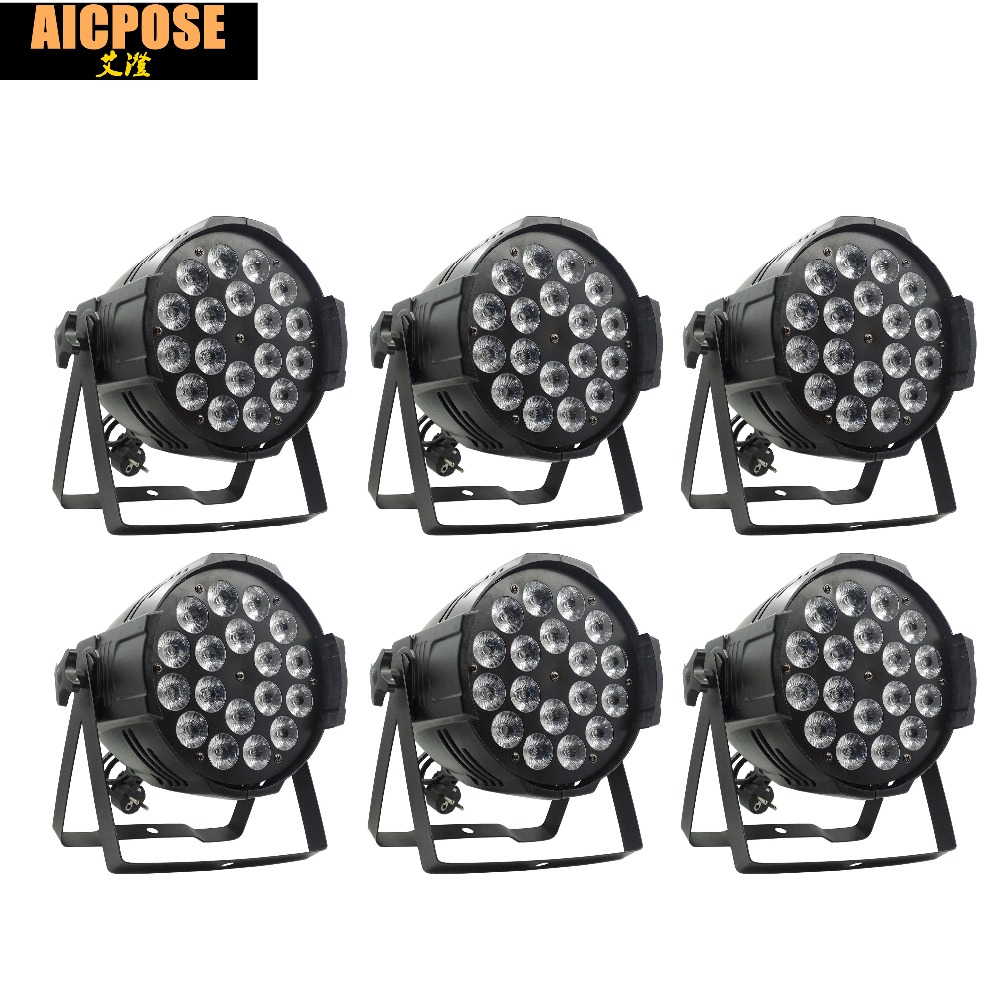 6pcs/lots 18*12w Light Aluminum LED Par 18x12W RGBW 4in1 LED Par Can Par 64 Led Spotlight Dj Projector Wash Lighting Stage Light