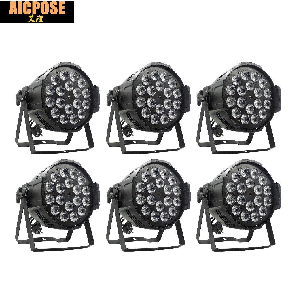 6pcs/lots 18*12w Light Aluminum LED Par 18x12W RGBW 4in1 LED Par Can Par 64 led spotlight dj projector wash lighting stage light