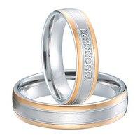 luxury rose gold plating custom health titanium wedding rings sets anel de ouro casamento alliance
