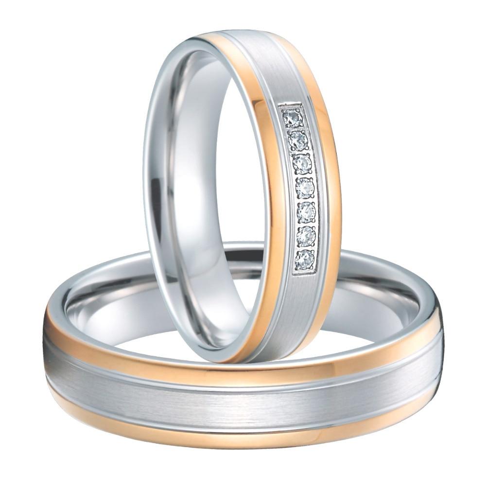 Luxury Rose Gold Plating Custom Health Anium Wedding Rings Sets Anel De Ouro Casamento Alliance