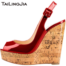 Wedge Heel Many Colors Peep Toe High Women Sandals Woman Shoes Patent Leather Buckle Quality Handmade Pumps Wholesale
