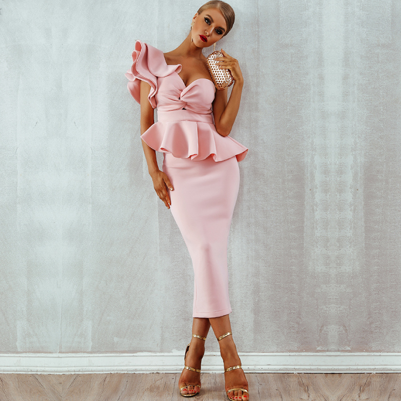 One Shoulder Ruffles Short Sleeve Strapless Club Dress Celebrity Evening Party Dress Women 2019 Sumer Sexy Bodycon Sets Vestidos-in Dresses from Women's Clothing    3
