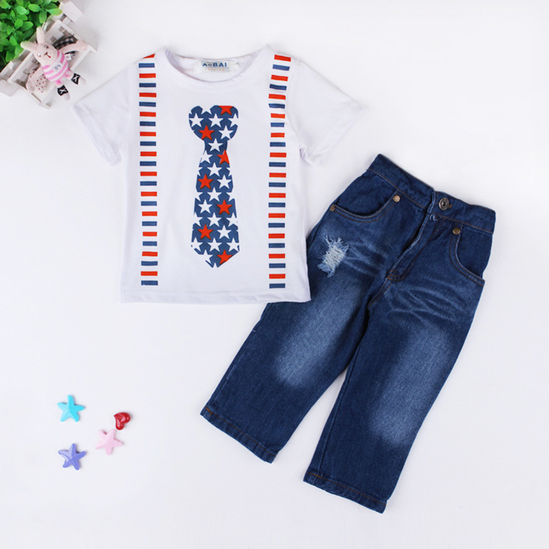 2016 spring kids clothes boys Tie short sleeve tshirts + jeans 2 piece suit for children trousers