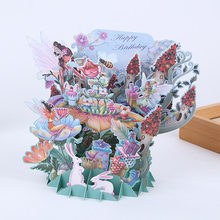 3D Laser Cut Handmade Happy Birthday Fairy Tale Forest Paper Invitation Greeting Card with Envelope Girls Birthday Creative Gift