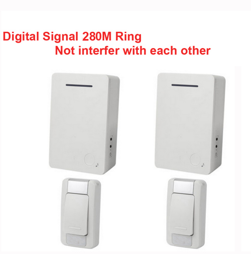 D28 2-2 wireless door bell kits w/ 2emitter+2receiver &power by AA battery doorbell Waterproof chime door ring digital signal ep1800lc 2