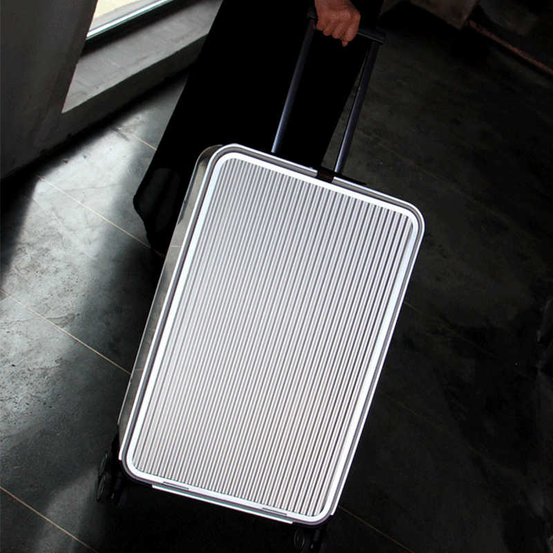b46593fc8 ... All Aluminum side open luxury rolling luggage men business computer  suitcase women metal password trolley case