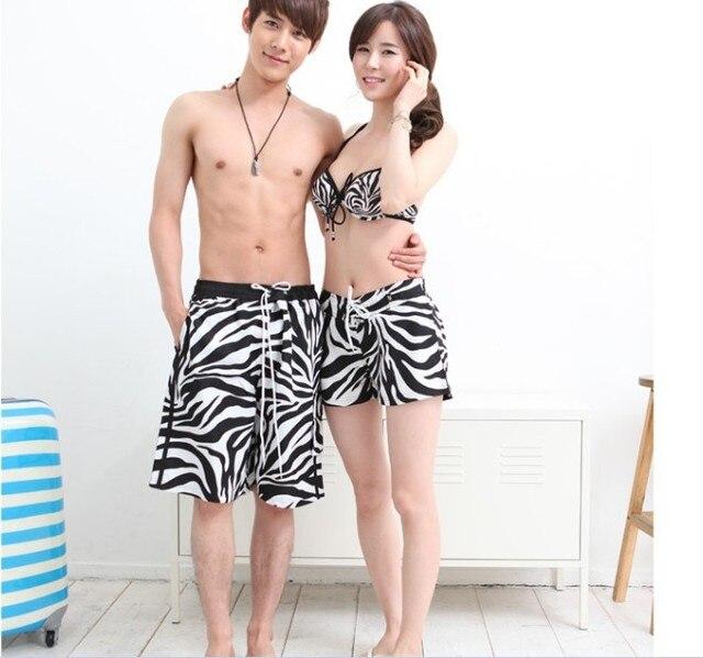 Hot Sale New Zebra Grain Lovers Leisure Briefs  Beach Pants 2pcs/lot