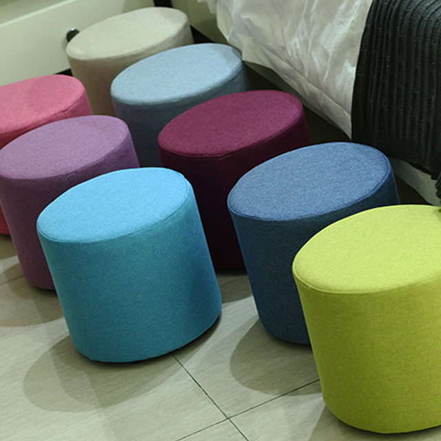 Yazi Wooden Hollow Stool Ottoman Sofa Chair Portable Furniture Kids Stool  With Cloth Cover Round Soft