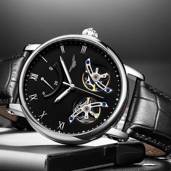 Double Tourbillon Automatic Watch Men Big Dial Mens Mechanical Watches Top Brand Luxury Clock GUANQIN Wristwatch reloj hombre