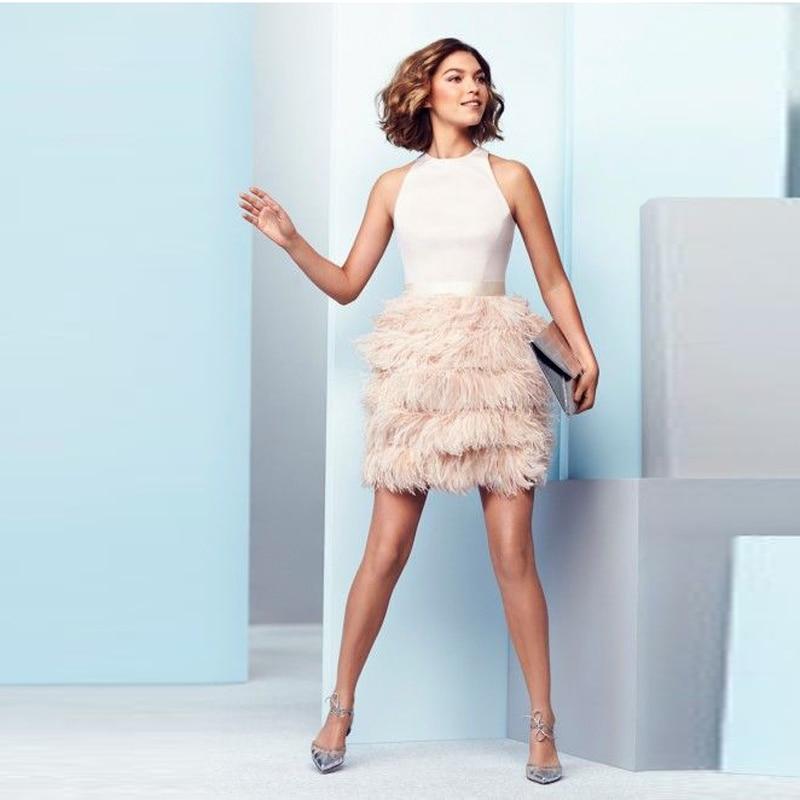 Beige Color Mini Ostrich Feather  Skirts Women Satin Waistband Short Skirt Female Bottoms Chic Women Clothing Faldas Mujer