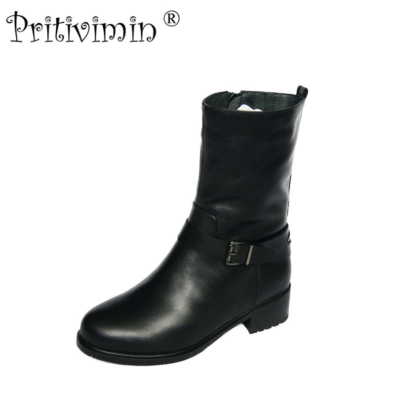 2018 female winter warm real fur lined shoe woman thick low heel short boots ladies genuine leather footwear Pritivimin FN72