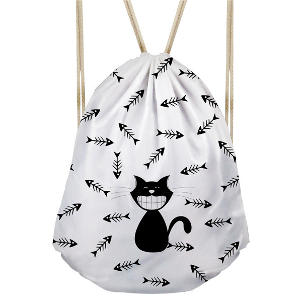 Noisydesigns Animal Black Cats Puzzle Women Drawstring Backpack Pocket Pussy Beach Bags Backpack Feminine Backpacks