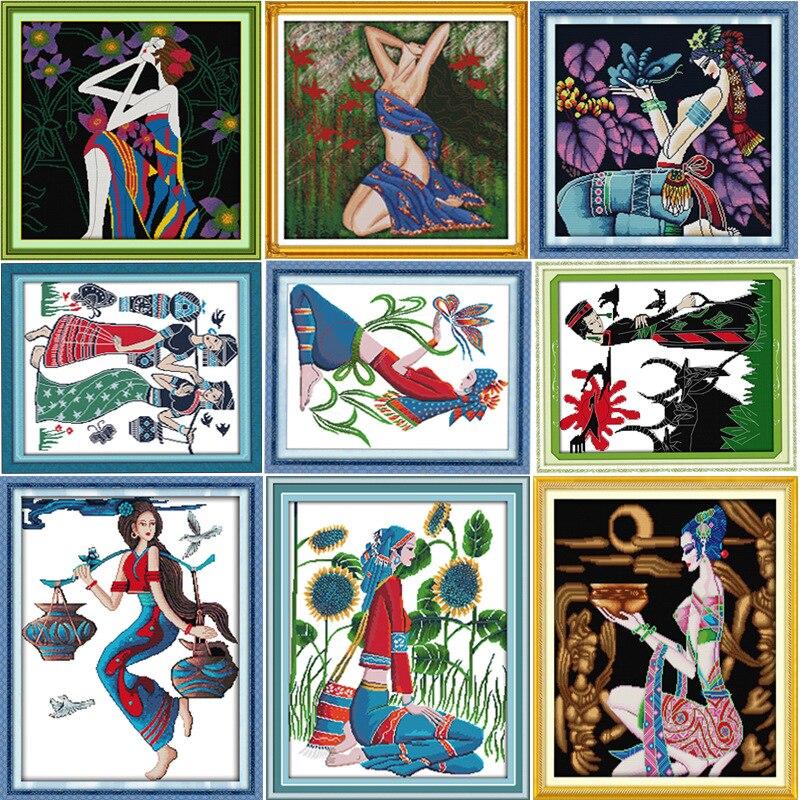 Een goede oogst nationale vrouwen DMC Fabric Counted Borduren Chinese - Kunsten, ambachten en naaien