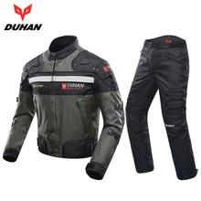 DUHAN Wiatroodporny Wyścigi Motocyklowe Kombinezon Ochraniaczami Armor Motocykl Kurtka + Spodnie Hip Protector Moto Motocykl Odzież Ustaw