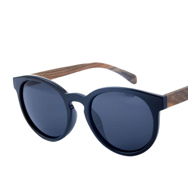 2016 novo de Alta qualidade de madeira óculos polarizados, ms quadro circular óculos de sol óculos de proteção Uv óculos de sol Retros