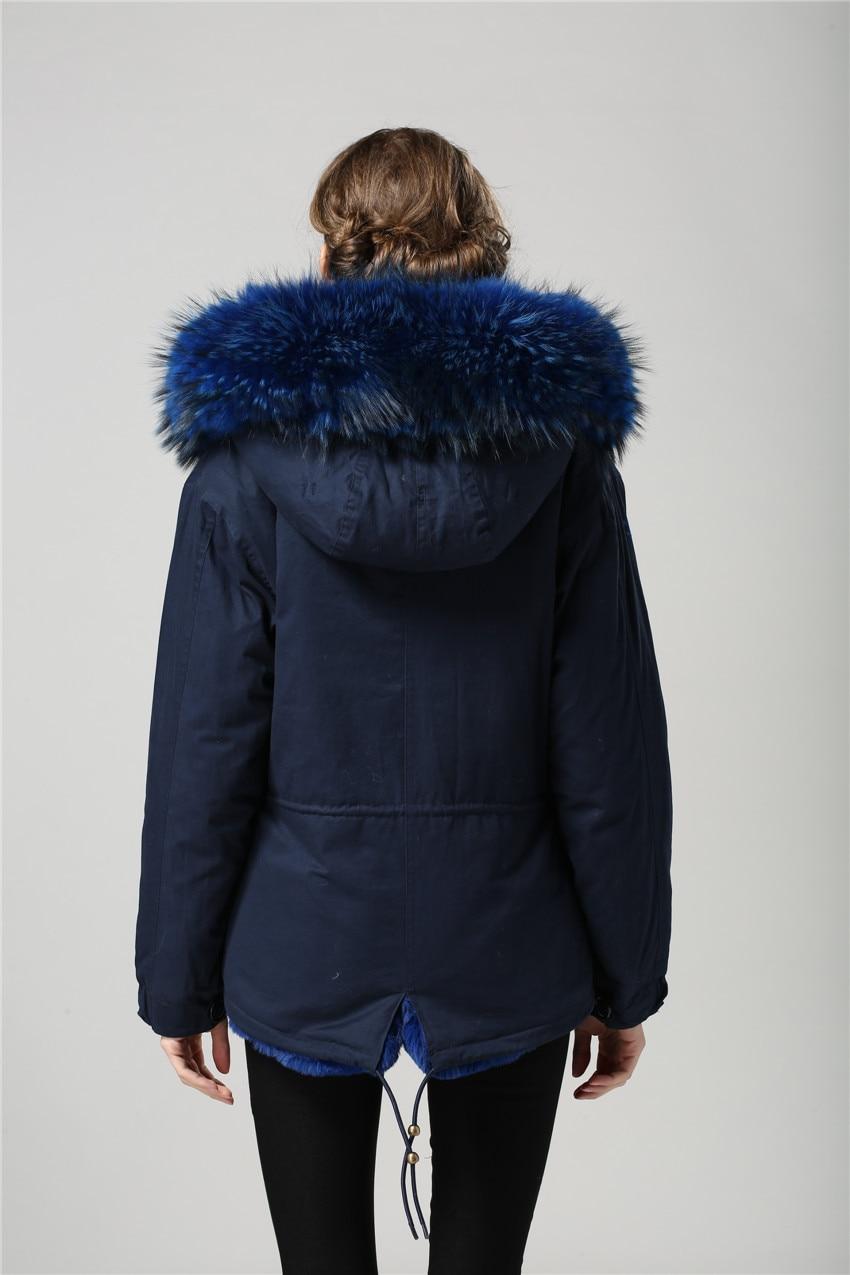 2017 Navy short parka with navy fur women short fashion coat, real ...