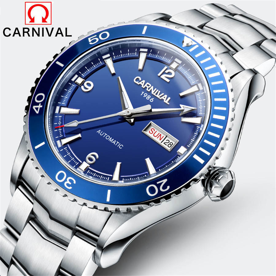 Carnival Men Watches Luminous Full Steel Business watch Men's Fashion Casual Watch Diving 50M Automatic Mechanical Watch clock nakzen men quality mechanical watch gents full steel business dress clock male fashion saphhire automatic waterproof 50m watches