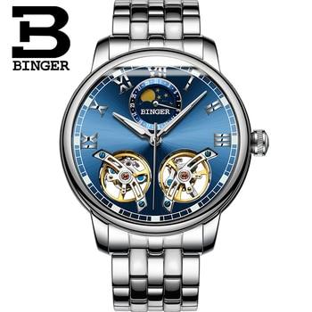 Novel Double Tourbillon Watches for Men Self-winding Mechanical Business Watch Full Steel Moon Phase Wrist watch Roman Montre