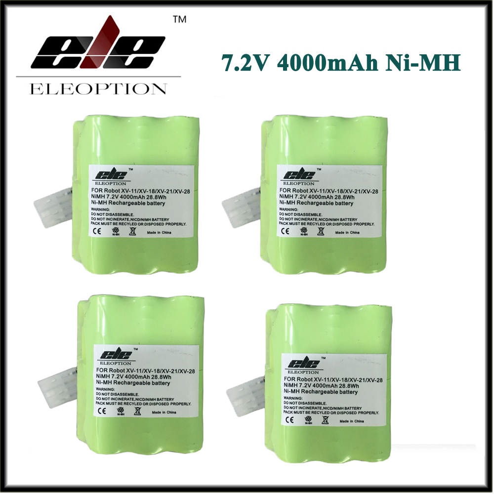 4x 4.0Ah High Quality ELEOPTION New 4000mAh 7.2V Battery For Neato XV Signature Pro XV-11 XV-12 XV-14 XV-15 XV-21 XV-254x 4.0Ah High Quality ELEOPTION New 4000mAh 7.2V Battery For Neato XV Signature Pro XV-11 XV-12 XV-14 XV-15 XV-21 XV-25