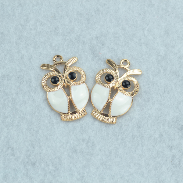 10 pcs Enamel charms Rose gold owl metal pendants fit Necklace Bracelet charms for Jewelry Making 34*22 mm 1585