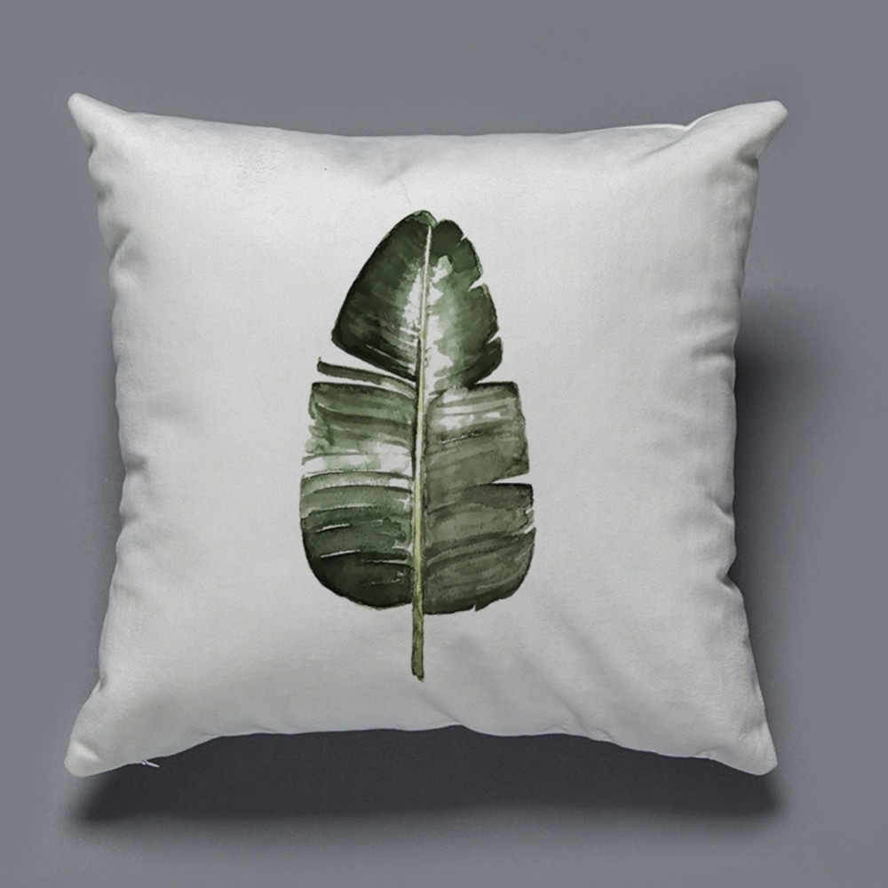 Soft Lint Throw Pillow Case Tropical Plant Leaf Concise Home Decor Plantain leaves Pillow Case Almofada Cushion Cover
