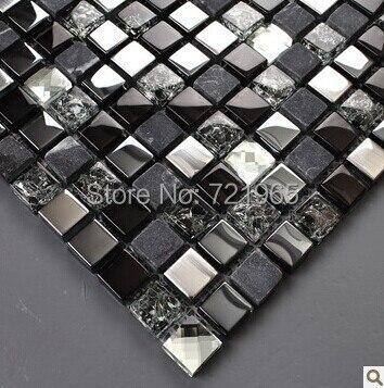 Black Silver Gl Mosaic Kitchen Wall Tiles Backsplash Sgmt165 Grey Stone Bathroom Diamond